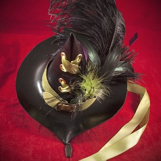 Hex Petite Leather Witch Hat with Acid Green and Purple Ostrich Feathers