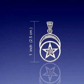 Hex Pentacle and Moon with Amethyst
