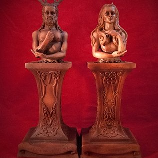 Hex Raven and Stephanie Grimassi Horned God and Moon Goddess Herm Altar Statue Set in Wood Finish