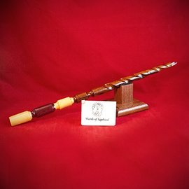 Hex Red Oak Wand with Yellowheart and Purpleheart Handle and Quartz Tip