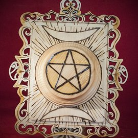 Hex Pentagram Plaque and Crescent Moons