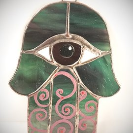 Fragile Beauty Stained Glass Hamsa Eye in Green and Purple