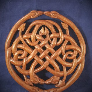 OMEN Celtic Dragon Knot Wall Hanging in Mahogany
