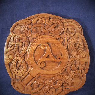 OMEN Celtic Knot Work with Triskel Wall Hanging in Mahogany
