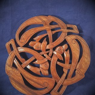 OMEN Celtic Hounds Knot Wall Hanging in Mahogany