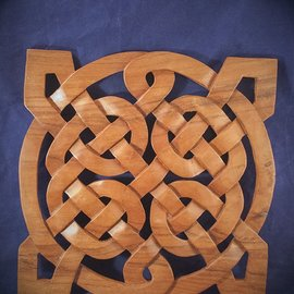 OMEN Celtic Square Magic Knot Wall Hanging in Mahogany