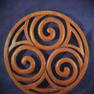 Celtic Triskel in Circle Wall Hanging in Mahogany