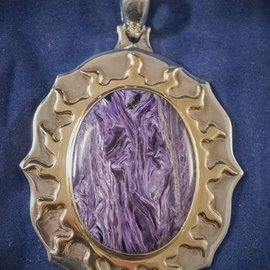 OMEN Sterling Silver Flamed Pendant with Charoite Gemstone and Gold Plated Flames