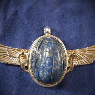 OMEN Sterling Silver Wings of Isis Pendant with Gold Plated Serpents and Lapis Scarab