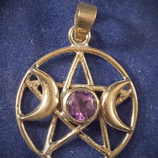 OMEN Solid Bronze Triple Moon Pentacle with Faceted Amethyst