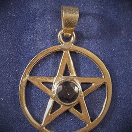 Solid Bronze Classic Pentacle with Faceted Iolite