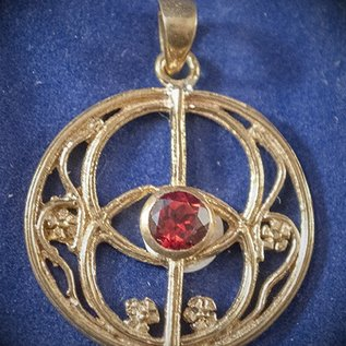 OMEN Solid Bronze Chalice Well Pendant with Faceted Garnet
