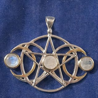 OMEN Sterling Silver Triple Moon Pentacle with 3 faceted Moonstones