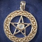 OMEN Celtic Pentacle in Sterling Silver with Faceted Blue Moonstone and Gold-Plated Knotwork