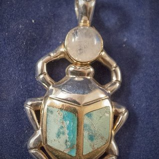 OMEN Scarab Pendant in Sterling Silver with Moonstone with Turqoise Inlay