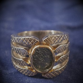 Moldavite Snake Ring in Sterling Silver with Gold Plate