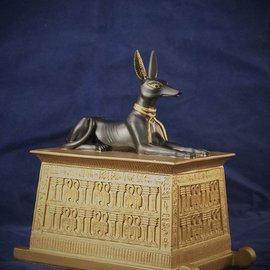 Anubis Jackal on Gold Platform Box