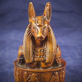 OMEN Anubis Carved Bust, Wood Finish