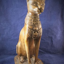OMEN Extra Large Cat Bast Statue, Olive Finish