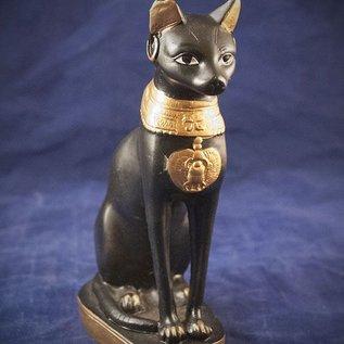 OMEN Medium Cat Bast Statue, Black and Gold Finish