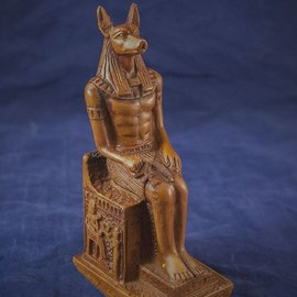 Medium Seated Anubis Statue, Wood Finish