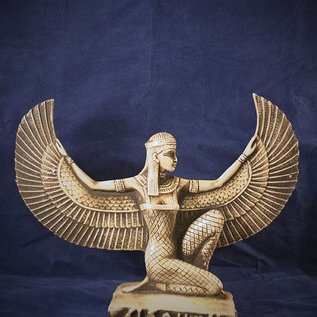 OMEN Medium-Large Kneeling Isis Statue, Wings Spread with White Finish