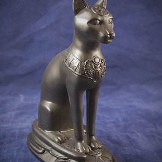 OMEN Small Cat Bast Statue on Scarab, Black Finish