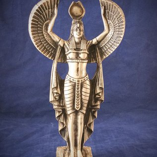 OMEN Medium Large Isis Standing Statue, Wings Spread with White Finish