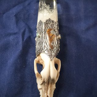 OMEN Sterling Silver Wolfs Head Wand with Citrine Point, Opal, and Emerald Gemstones