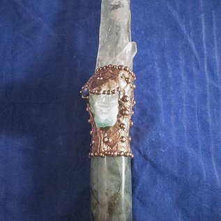 OMEN Lemurian Quartz Wand with Blue Opal, Lapis Lazuli and Labradorite