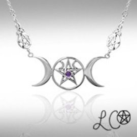 OMEN Laurie Cabot's Triple Moon Goddess Necklace with Amethyst