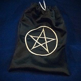OMEN Gold Pentacle Black Satin Tarot Bag