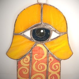 OMEN Stained Glass Hamsa Eye in Orange and Blue