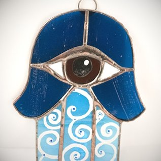 Fragile Beauty Stained Glass Hamsa Eye in Blue and Amber