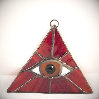 Fragile Beauty Red Triangle with Amber Eye Suncatcher