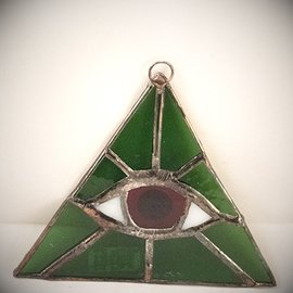 Fragile Beauty Green Triangle with Red Eye Suncatcher