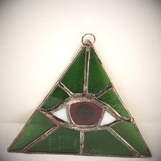 OMEN Green Triangle with Red Eye Suncatcher