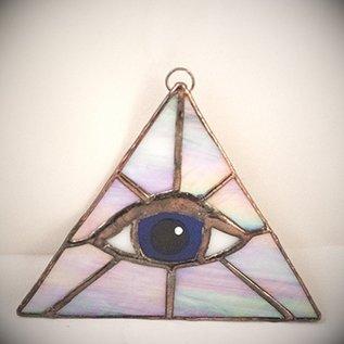 OMEN Opalescent Triangle with Blue Eye Suncatcher