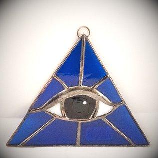 Fragile Beauty Blue Triangle with Amber Eye Suncatcher