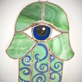 Fragile Beauty Stained Glass Hamsa Eye in Green and Blue