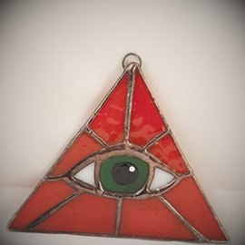 Fragile Beauty Red Triangle with Green Eye Suncatcher