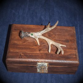 OMEN Wood and Antler Tarot Box by Official Salem Witch Laurie Cabot