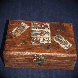 Laurie Cabot Crafts Antique Key and Marseilles Tarot Box by Official Salem Witch Laurie Cabot