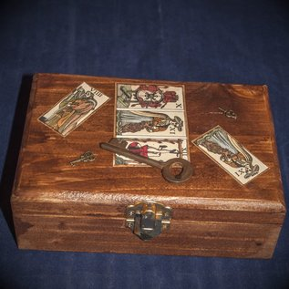OMEN Antique Key and Marseilles Tarot Box by Official Salem Witch Laurie Cabot