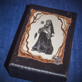 Laurie Cabot Crafts Black Witch Tarot Box with Silver Pentacle by Official Salem Witch Laurie Cabot