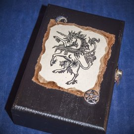 Laurie Cabot Crafts Black Unicorn Tarot Box with Pentacle and Moon by Official Salem Witch Laurie Cabot