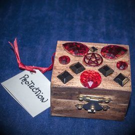 Laurie Cabot Crafts Wood Stained Protection Spell Box by Official Salem Witch Laurie Cabot