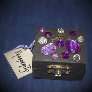 Laurie Cabot Crafts Black Prosperity Spell Box with Purple Jewels by Official Salem Witch Laurie Cabot