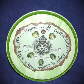 Laurie Cabot Crafts Round Green Bejeweled Lion Pendulum Board by Official Salem Witch Laurie Cabot