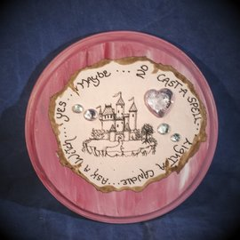 Laurie Cabot Crafts Round Pink Pendulum Board with Castle and Jewels by Official Salem Witch Laurie Cabot